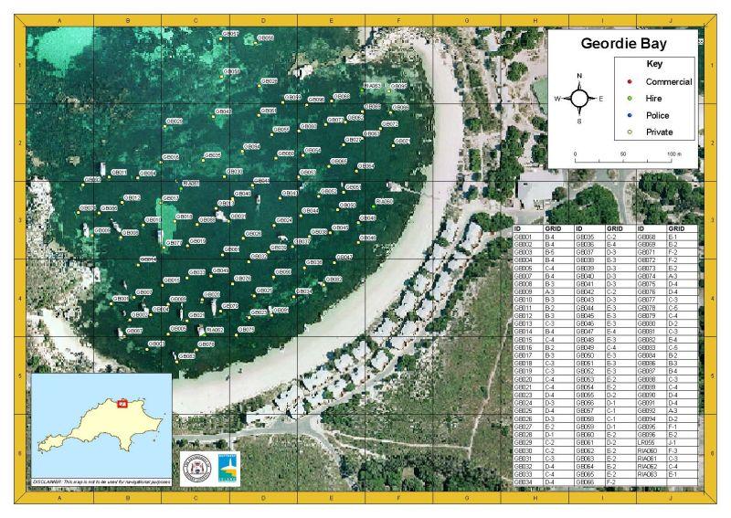 Rottnest Island Geordie Bay mooring map