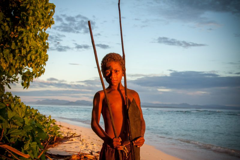 Young warrior boy on Santa Catalina Island, Solomon Islands